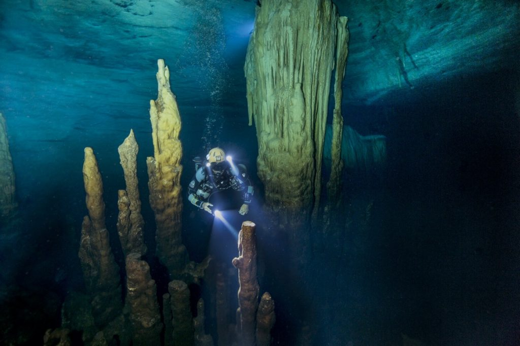 Ben's Cavern, with cave diver Cristina Zenato (released).